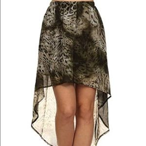 Brown Leopard Print High Low Hem Skirt